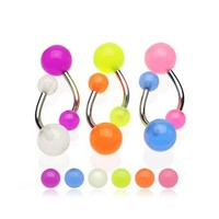 Lot of 6 Glow In Dark Belly Ring Stainless Steel Barbell 14 Gauge 1 Belly Retainer