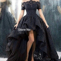 Black Robe De Soiree 2017 Ball Gown Cap Sleeves Lace Short Front Long Back Long Prom Dresses Prom Gown Evening Dresses
