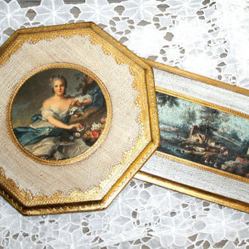 Vintage Gilded Italian Florentine Plaques  by LittleVintageCottage