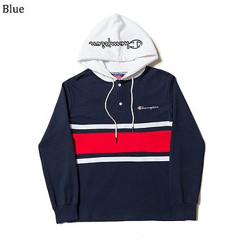 Champion Tide brand color matching men and women loose hooded hoodie Blue