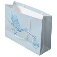 Blue Stork Delivering Boy Large Gift Bag