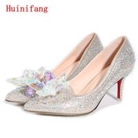 New Hot Silver/Gold Rhinestones Women Wedding Shoes High Heels Slip ON Cinderella Crystal Shoes Pointed Toe Women Pumps TS