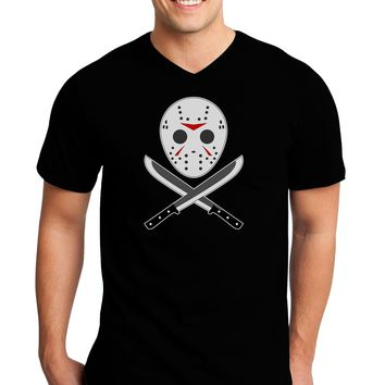 Scary Mask With Machete - Halloween Adult Dark V-Neck T-Shirt