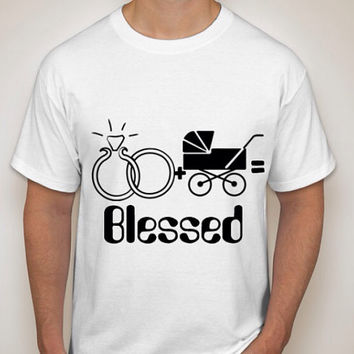 Marriage + Baby Equals a blessed life Hanes Tagless T-Shirt available in generous fit sizes.