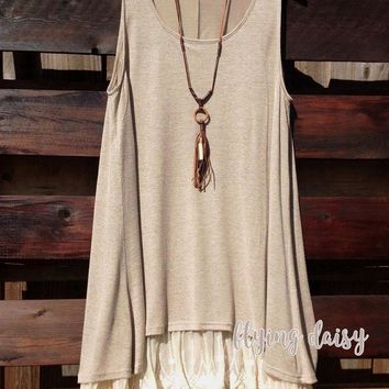 Mocha Sleeveless Lace Extender Tunic Dress