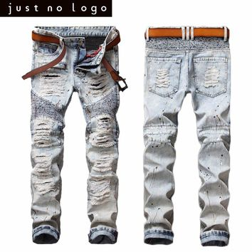Mens Bleached Blue Jeans Ripped Zipped Biker Jeans Skinny Distressed Slim Fit Denim Pants Straight Casual Frayed Trouser