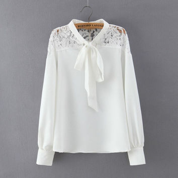 Summer Women's Fashion Lace Mosaic Blouse [6513017863]
