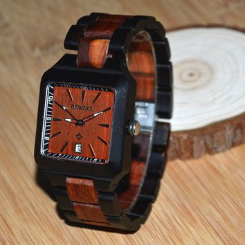 BEWELL Wood Watch Maple Wood Quartz Watch Square Dress Wrist-watch Full Wood with Calendar Daily Waterproof 110A