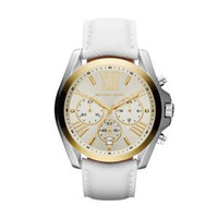 MICHAEL KORS Gold Plated White Leather Strap  Ladies  Watch