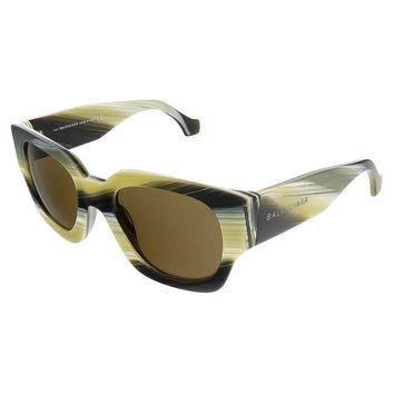 balenciaga mustard grey striped square sunglasses 2