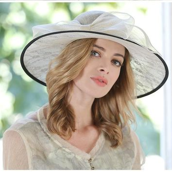 Elegant Bowknot Linen Hat With Lace