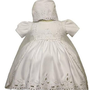 Baby Girl Christening Dress Gowns Outfit Bonnet Size /Small/medium/large/xl/2t/#5426