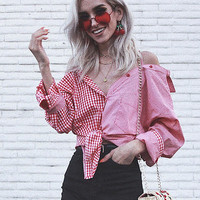 Red Cold Shoulder Gingham Button Down Blouse