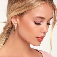 On Point Gold and Pink Triangle Earrings