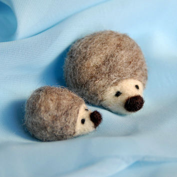 Needle Felted Hedgehogs,  Waldorf, Mama and Baby
