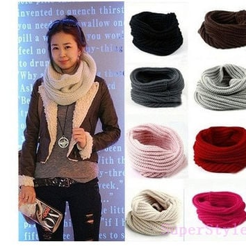New Womens Mens Winter Warm Infinity 1 Circle Cable Knit Cowl Neck Scarf Shawl = 1946943364