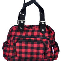 Black & Red Stripe Plaid Hand Bag Punk Purse with Cell Phone Pocket