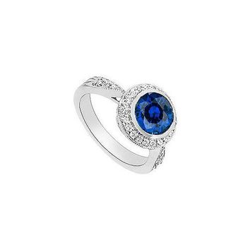 Diffuse Sapphire and Diamond Halo Engagement Ring : 14K White Gold - 2.30 CT TGW