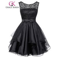Black Cocktail Dresses 2017 Grace Karin Real Picture Elegant Strapless Lace Special Occasion Dress Party Gowns Robe De Cocktail