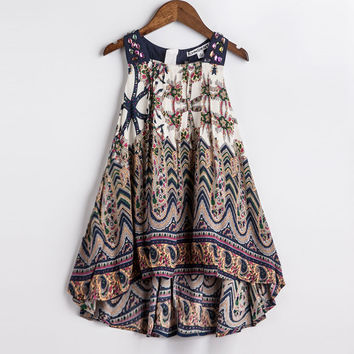 CHNDKNY 2017 Baby Girls Summer Dress 2016 New Brand Kids Print Party Dress for Girls Children Bohemian Fashion Clothes