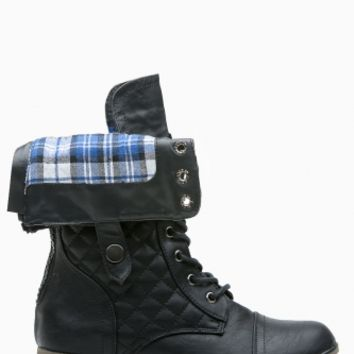 Black Faux Leather Fold Over Plaid Combat Boots @ Cicihot Boots Catalog:women's winter boots,leather thigh high boots,black platform knee high boots,over the knee boots,Go Go boots,cowgirl boots,gladiator boots,womens dress boots,skirt boots.