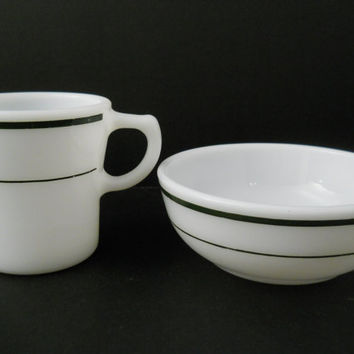 Corning Restaurant Ware Green Stripe Bowl & Cup Mid Century