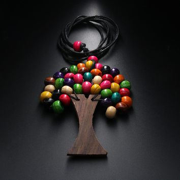 1 PCS Handmade Tree Of Life Rainbow Wooden Beads Pendant Necklace Fashion Boho Ethnic Long Statement Necklaces Jewelry