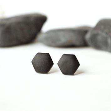 Black studs, matte black earrings, earrings for men, unisex, matte black studs, hexagon studs, black stud earring, mens earrings, mens studs
