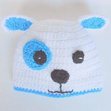 Infant Puppy Hat 1 Year Old Girl Dog  Cap White and Blue 6 To 12  Months Baby Boy  Beanie Handmade  Animal Photo Prop Accessory