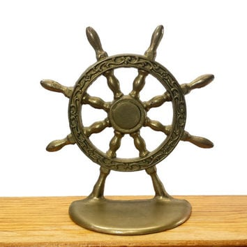 Vintage Brass Ship Wheel Bookend, Nautical Decor, Sailing, Nursery Kids Room, Home Office Den Study Bookshelf Book End, Single Bookend