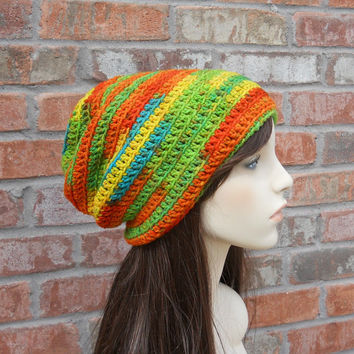 Long Beanie Colorful Beanie Slouchy Beanie Skater Beanie Orange Green Yellow Blue Red Oversized Beanie Crochet Hat Slouch Hat Slouchy Hat