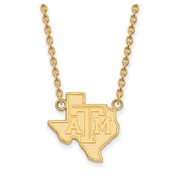 NCAA 14k Yellow Gold Texas A&M U Lg State Logo Pendant Necklace