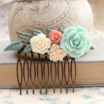 Flower Hair Comb Wedding Bridal Hair Accessories Floral Collage Cream Rose Peach Mint Patina Leaf Leaves Pink Daisy Brass