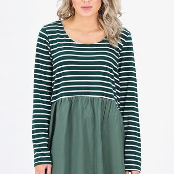 Stripes + Solid Color Block Tunic {Forest/Green}