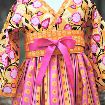 Girls Kimono Dress with Obi Girl Dresses by HarmonyGirlsClothing