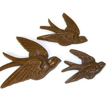 Vintage 1980s Burwood Products Swallows Birds Wall Hangings Home Decor - Faux Bois Faux Wood Set of Three Wall Art - 1983 Made in USA