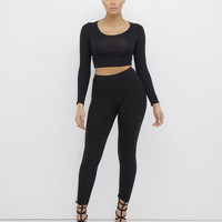 DEEP WAVE KNIT RIBBED LEGGINGS - BLACK