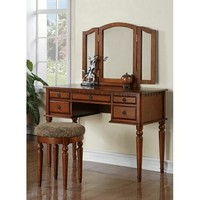 3 pc Brown finish wood make up bedroom vanity set with curved legs stool and tri fold mirror with multiple drawers