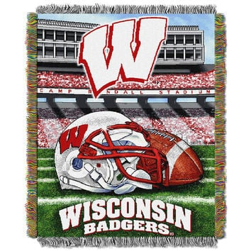 Wisconsin Badgers NCAA Woven Tapestry Throw (Home Field Advantage) (48x60)