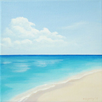 "Original Ocean Painting, Calm Sea Painting, Peaceful Seascape Fine Art, Blue Sky, Clouds, Blue Ocean Art, Tropical Beach Acrylic 10"" X 10"""