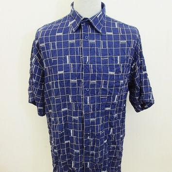 Vintage 80s Geometric Check Square Oversized Indie Club Pattern Shirt Large