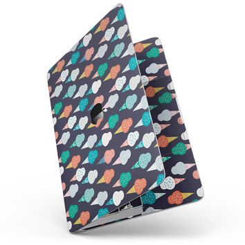 "The All Over Teal and Green Ice Cream Cones - 13"" MacBook Pro without Touch Bar Skin Kit"