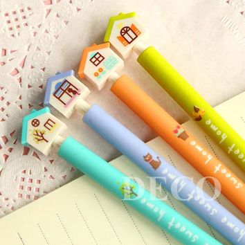 1PC/lot Kawaii house design ballpoint pen for kids stationery 4 color blue ink writing pen School supplies(ss-a794)