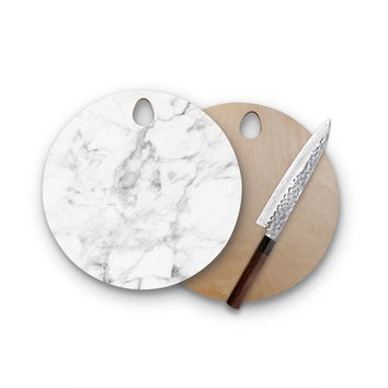 White Gray Marble Round Wood Cutting Board Trendy Unique Home Decor Cheese Board