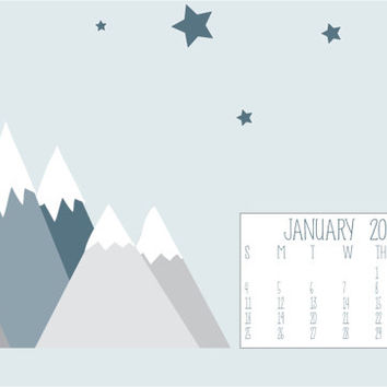 Instant Download - January 2015 Snowy Mountains and Stars Computer Desktop Monthly Calendar