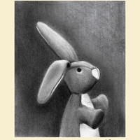 Charcoal Bunny- Cream Border | Canvas Wall Art