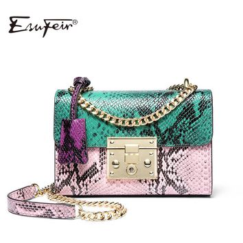 *Women Messenger Bag Genuine Leather Serpentine Panelled Crossbody Bag Fashion design Shoulder Bag Chains Women Bag