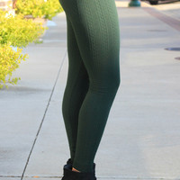 Cable Knit Tights - Olive Green