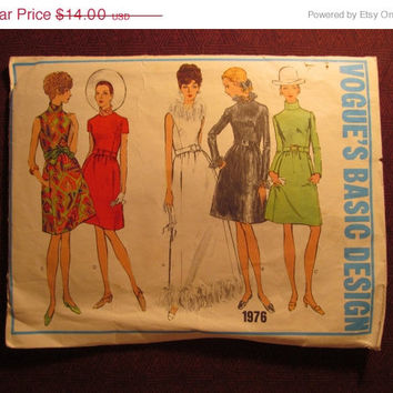 SALE Complete 1960's Vogue Basic Design Sewing Pattern, 1976! Size 14 Medium/Large/Women's/Misses/One-Piece Dress/Long or Short/Formal Dress