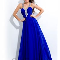 Beaded Halter Prom Gown by Princess Collection 2729